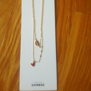 NWT Express Heart and Lips Gold Necklace